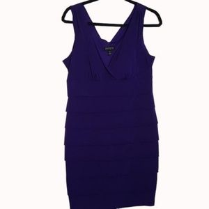 Enfocus Purple Tier Bodycon Sleeveless Dress